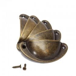 Schelpvormige meubelgrepen met schroeven - 8 stuks